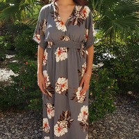 Light Up The Room Faye Grey Floral Print Maxi Dress With Side Slits