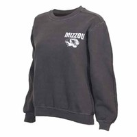 The Mizzou Store - Mizzou Tiger Head Official Seal Charcoal Long Sleeve Crew Neck Sweatshirt