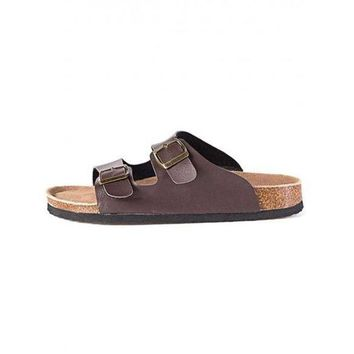 DCK7YE Birkenstocks Solid Fashion Beach Cork Soled Flat Sandals