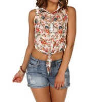 Ivory Floral Tie Front Top