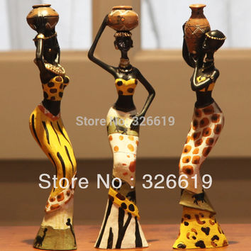 3 African girls home decor resin figurine folk art Home decoration