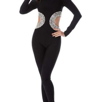 The Wild Card Black Beaded Bandage Jumpsuit