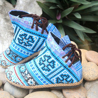 Amber Brilliant Blue Ethnic Womens Ankle Boots In Hmong Embroidery