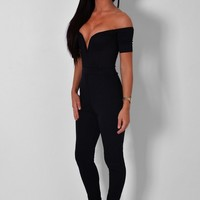 Eyre Black Plunge Front Jumpsuit | Pink Boutique