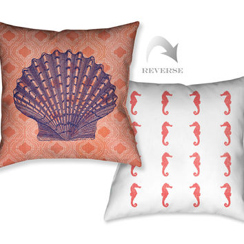Coral Coastal Shell Indoor Decorative Pillow
