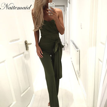 2016 Bandage Bodysuits Women strapless Jumpsuits Long Pants Bodycon Solid khaki sexy club Rompers maillots de bain combishort