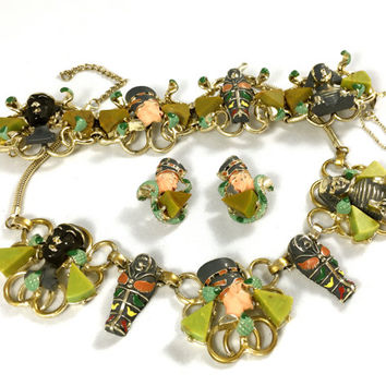Hobe Egyptian Revival Parure, Bracelet Necklace & Earring Set, Blackamoor Nefertiti  sarcophagus Sphinx Cobra Charms, Bakelite, Gift for Her