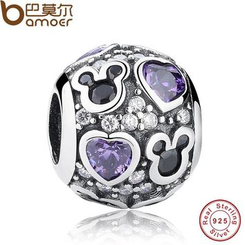 Year Baby Gift Charms Fit Original Bracelet Necklace 925 Sterling Silver Mouse Purple Heart Bead Jewelry Making PAS130