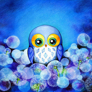 OWL ART - Whimsical Baby Blue Dandelion Flower Field - Owl Nursery Decor - Painting Print by Annya Kai