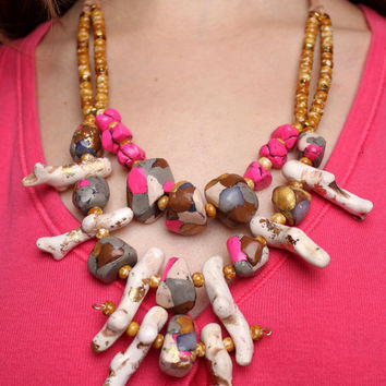 Bubble Statement Necklace / Pink and Gray Marble and Coral Cascade / Anthropologie Inspired / Rock Nature