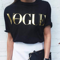 8 Colors S-4XL Fashion Brand T Shirt Women VOGUE Printed