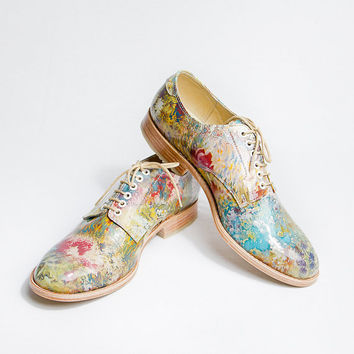 flowered patter pattent leather impressionism oxford  - FREE WORLDWIDE SHIPPING