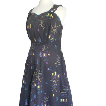 Vintage Dress 1960s Summer Handmade Design - Atomic Print Blue Fabric with Yellow Purple and Teal - Button Straps and Sweetheart Neckline