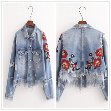Trendy Women Vintage Embroidered Denim Jacket Long Sleeved Jeans Coats Fashion Tassel Casual Jacket AT_94_13