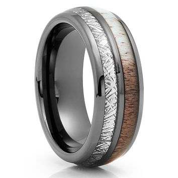 Gunmetal Tungsten Ring - Deer Antler Wedding Band - Meteorite Ring