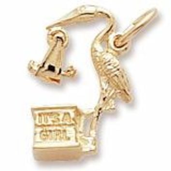 Stork,Girl Charm In Yellow Gold