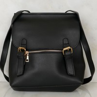 Chic Leather Backpack Purse Black