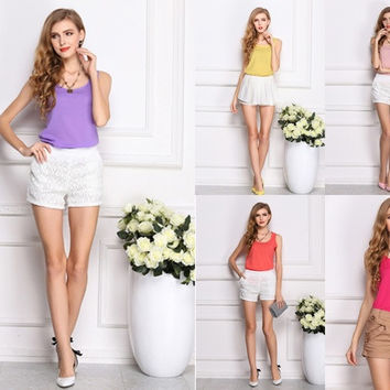 Fashion New Summer Women Clothing Chiffon Sleeveless Solid Neon Candy Color Causal Chiffon Blouse Shirt Women Top = 1958393540