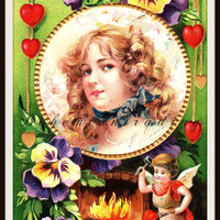 Antique Valentines Day Postcard. Pretty Girl, Hearts & Flowers. Blacksmith Cherub, Romantic. 1910s Paper Collectible