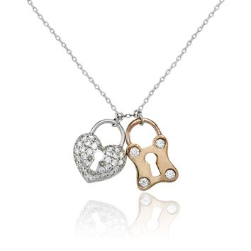 14K Rose Gold AAAA CZ Heart Necklace