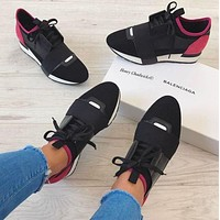 BALENCIAGA Trending Women Men Stylish Casual Shoe Black/Burgundy I-BLSJ-OKHY