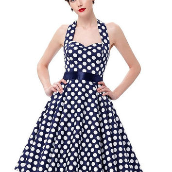 Women Summer Retro Dress 2017 Pin Up Vestidos Plus Size Casual Elegant Party Dresses Robe Rockabilly 50s Vintage Polka Dot Dress