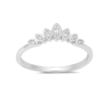 Sterling Silver Bezel Set Marquise CZ Tiara Crown Ring