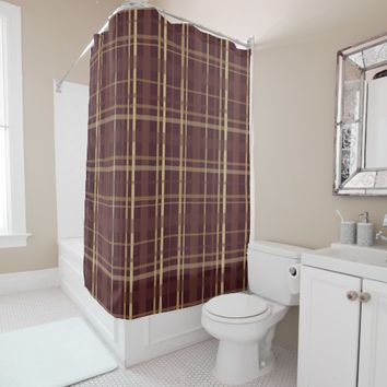 Brown Plaid Shower Curtain