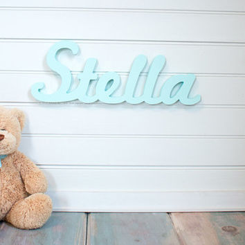Nursery name sign Baby Name Plaque Small Personalized nursery name baby name door hanging or wall plaque nursery decor wooden wall art
