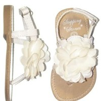 Infant Girl Patent Thong Sandals with Satin Puff Flower by Stepping Stones Hard Soles - White - 4 Infant / 5.25-5.50""