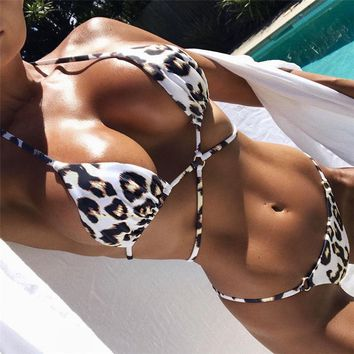 Women's Bikini Set New Arrival Leopard Printed Push-Up Bandage Swimsuit Beachwear Swimwear Bathing Suits Biquinis Feminino 2018