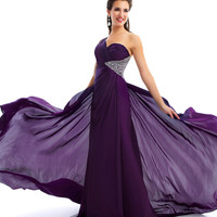 Mac Duggal Prom 2013 - One Shoulder Dark Purple Gown - Unique Vintage - Cocktail, Pinup, Holiday & Prom Dresses.