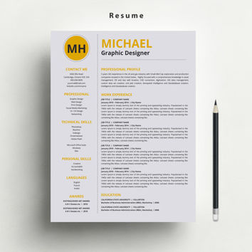 Creative Resume/CV Template with FREE Matching Cover Letter and Business Card Template