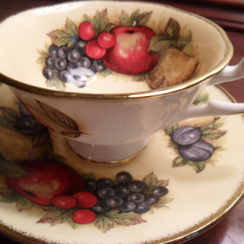 Queen's Fine Bone China Teacup and Saucer Set England Fruit Vintage from Amelie's Farmhouse
