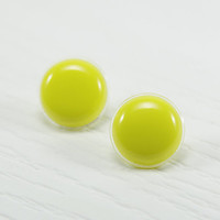 Lemon Yellow Stud Earrings 20mm - Yellow Bright Resin Post Earrings - Sunshine Sunny Neon Yellow Earrings - Stainless Steel - Studs