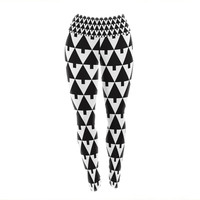 "Gabriela Fuente ""Happy X-Mas Black & White"" Geometric Monotone Yoga Leggings"