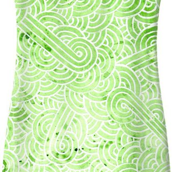 Greenery and white swirls doodles Simple Dress