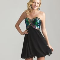 Black Chiffon & Multi Color Beaded Strapless Sweetheart Homecoming Dress - Unique Vintage - Cocktail, Pinup, Holiday & Prom Dresses.