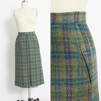 Vintage 1960s Pencil Skirt - WOOL Blue Green Plaid High Waist 60s - XS Extra Small