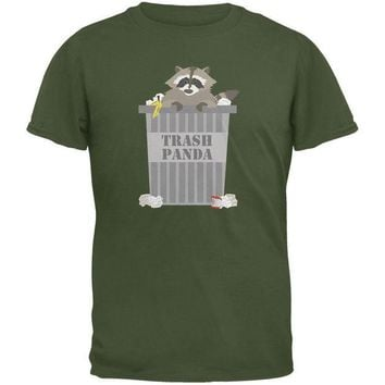 DCCKJY1 Trash Panda Raccoon Military Green Adult T-Shirt