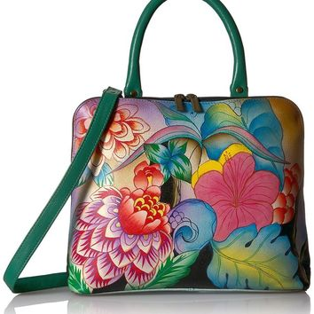 Hand Painted Leather Slim Crossbody Satchel