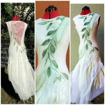 Woodland Fairy Dress. Nuno Felted Alternative Wedding Gown. Tattered Pixie Dress in Cream and Moss Green Silk. Adult Fairy. Made To Order.