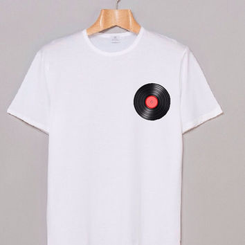 RECORD VINYL White Hipster Vintage Teen Tumblr Graphic Shirt