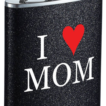 Visol Mother's Day I Love Mom Black Glitter Flask