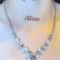 Vintage Jewelry Weiss Stunningly Elegant Crystal Rhinestone Necklace Circa 1940s