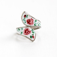 Vintage Sterling Silver Floral Enamel Wrap Ring - Mid Century 1950s Flower Guilloche Adjustable Jewelry