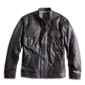 Lucky Brand The Ace Leather Jacket Mens - Black