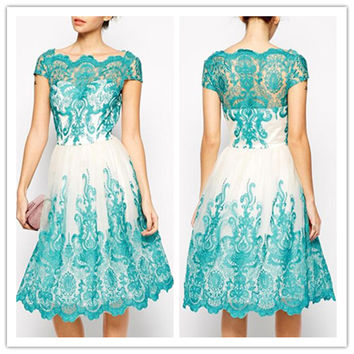 Ice blue short bridesmaid dress 2016 new style dress lace style D8649