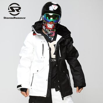 StormRunner Men's Snow ski Jacket  white and black stitching snow jacket  outdoor sport jacket for boys