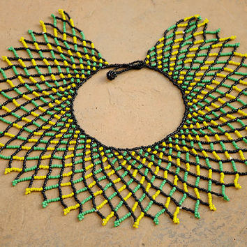 Green and yellow collar necklace,Beaded shoulder necklace,Zulu necklace,Tribal African collar necklace,Statement African beaded necklace